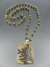German Psilomelane Dendrite Sterling Pendant on Wire Wrapped Pyrite Chain