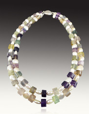 Nesting Pearl and Step cut Fluorite Tubes with Vintage Clasp