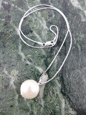 Huge White South Sea Pearl on Sterling Chain