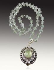 Prehnite Poison Silver Pendant on wire wrapped prehnite Chain