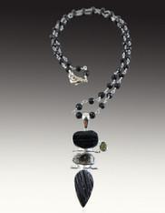 Black Tourmaline, Herkimer Diamond, Moldavite Pendant on Wire Wrapped Chain