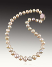 Multi Pastel Silk Knotted Pearls with Sterling Pink Opal Clasp