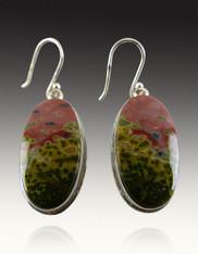 Ocean Jasper Oval Sterling Earrings