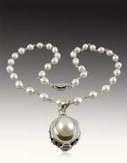 White Pearl Silver Poison Pendant on Wire Wrapped Pearl Chain