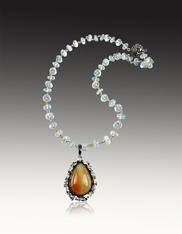 Natural Opal Blue Topaz Pendant on Wire Wrapped Topaz Chain