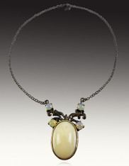Natural Opal Stones with Ethiopian Opal Pendant on a Gunmetal Chain