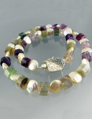 Fluorite Pearl Single Strand with Custom Carved Sterling Clasp