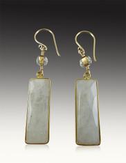 Rainbow Moonstone Gold Framed Dangle Earrings