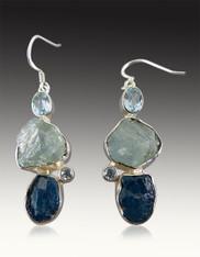 Blue Topaz, Aquamarine, Kyanite Sterling Earrings