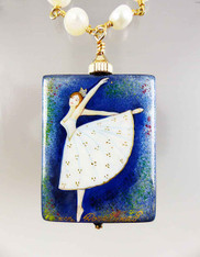 Hand Painted Russian Ballerina with Wire Wrapped Pearl Necklace