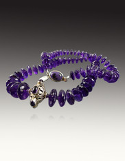 Grade AAA German Faceted Amethyst Wheel Necklace with a Vintage Sterling Amethyst Focal Center