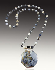 Indonesian Maligano Sterling Hexagon Pendant on Wire Wrapped Agate Chain