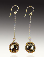 Gold CZ Pyrite Discs Dangle Earrings on 14K Chain