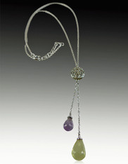 Faceted African Amethyst Cirtine Briolette Dangles on Delicate Silver Chain