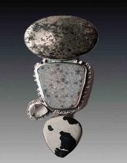 HUGE Amy Kahn Russell Pyrite, Druzy, Dalmatian Jasper  Moonstone Sterling Pin/Pendant - SOLD