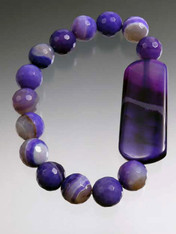 Faceted multi-toned purple agate stretch bracelet with purple agate dogtag slice. 8""