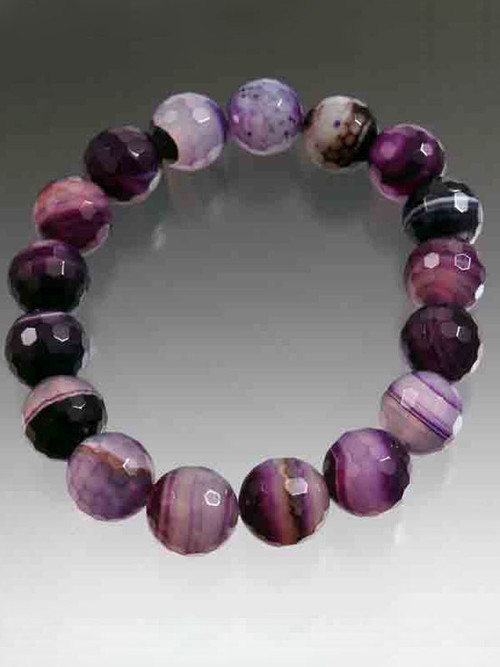 Purple wine multi-agate stretch bracelet. 8""