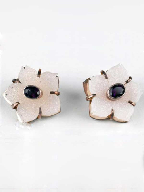 "These Amy Kahn Russell miniature masterpieces feature hand-carved gleaming white Brazilian druzy and faceted amethyst stones bezel set in sterling silver. 1"" x 1"""