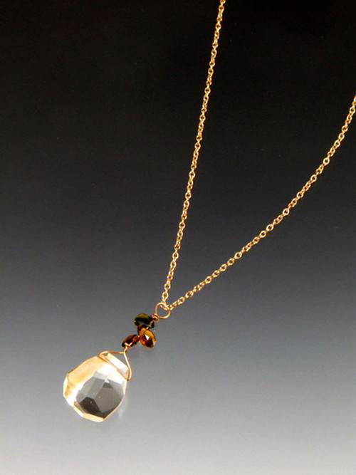 """A sparkling faceted pale yellow citrine puffed drop topped with 3 shades of tourmaline briollettes suspended on a 16"""" 14K chain. -- makes a delicate but powerful statement. Chain can be worn separately."""