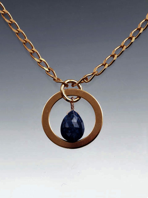 """Make a double impact with this delicate yet bold grade AAA faceted lapis teardrop ramed with a 24KULTRAPLATE* hoop and chain 18"""""""