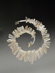 """A website best buy with amazing impact! An 18"""" collar of iridescent natural nude tone quartz  with custom sterling clasp. Also available in 19.5"""""""