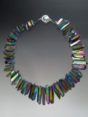 """A website best buy with amazing impact! An 18"""" collar of iridescent natural quartz with tones of wine and green with custom sterling clasp. Also available in 19.5"""""""