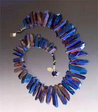 """A website best buy with amazing impact! An 18"""" collar of iridescent cobalt natural quartz with tones of silver and pale blue with custom sterling clasp. Also available in 19.5"""""""