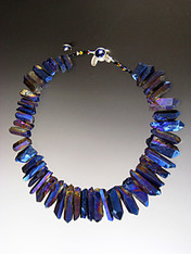 "A website best buy with amazing impact!  An 18"" collar of iridescent cobalt natural quartz with tones of silver and pale blue with custom sterling clasp. Also available in 19.5"""