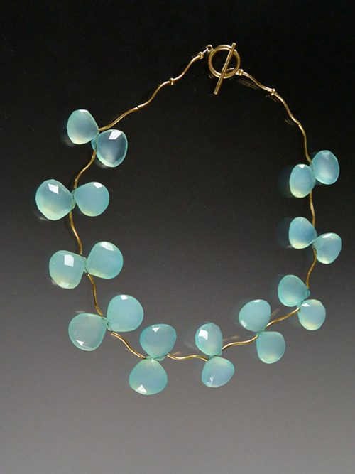 """Flowering vines of grade AAA aqua chalcedony clusters are suspended between 14K curved branches and a 14K toggle clasp. 18"""""""
