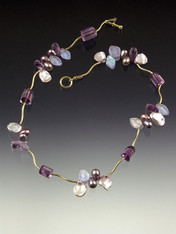 This delicate necklace features Grade AAA faceted Brazilian amethyst stones and precious clusters of amethyst, ametrine and petal pearls between 14K curved branches and toggle clasp. 17-1/2""