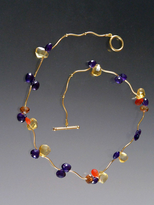 A delicate collar of precious pansy gemstone clusters in-fire opals, African amethysts, citrine, carnelian-draped on 14K curved vines with 14K clasp.  17""