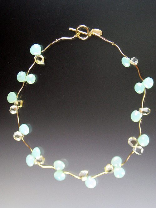 A bestseller and best buy!  Delicate flowers of luminous aqua chalcedony and pale citrine blossoms rest between 14K branches and clasp. 17-1/2""