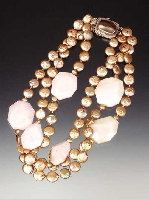 A bold statement for any occasion -- large faceted deep pink-rose Brazilian opal slices float on a sea of small gold coin pearl strands with a Peruvian mabe pearl custom clasp that can be a side or center station.  20""