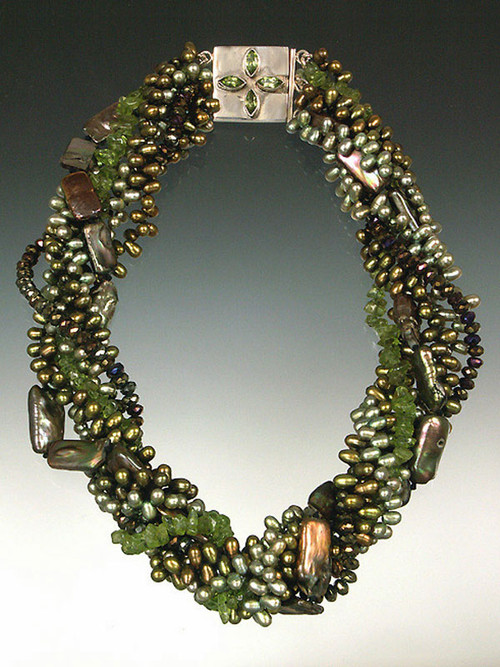 Bask in all the shades of the forest from dark to light green and brown pearls paired with peridot. A sterling peridot, labradorite, or mabe pearl clasp adds a dramatic highlight 19""