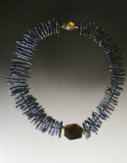 Dark Blue Biwa Pearls with Smokey Topaz Collar