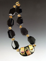 Kyoto Quarter Moon Cloisonne Black Onyx Necklace