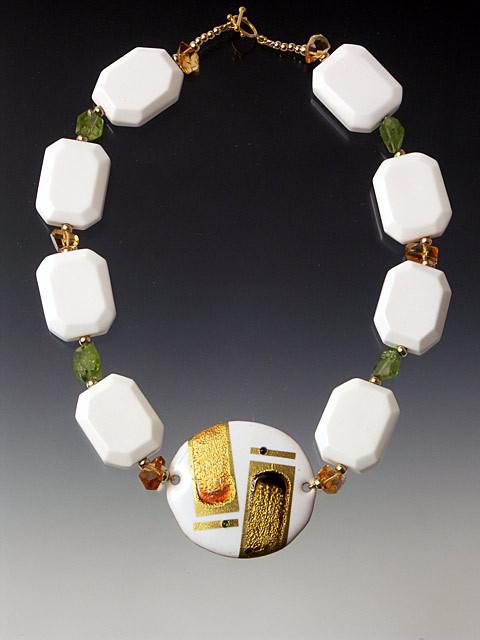 Kyoto Round Cloissone White Onyx Necklace