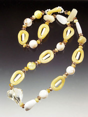 A confection of lemon jade, white and yellow opal, citrine, hand-blown Venetian glass seashells!