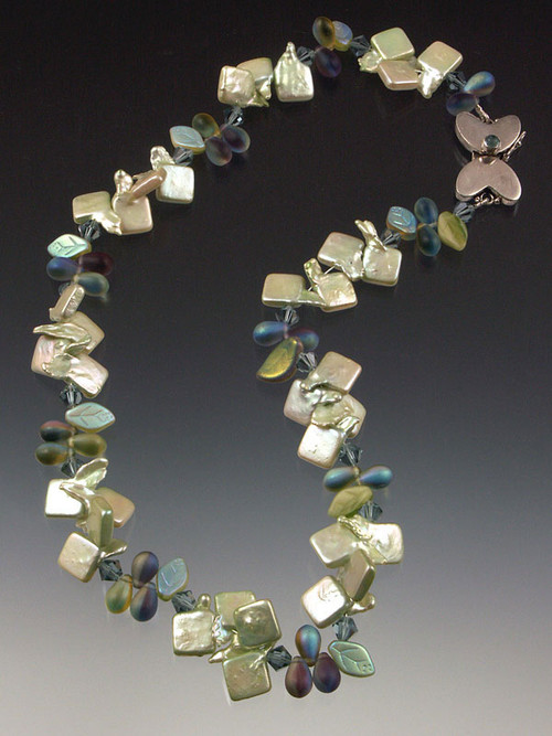 Pale sage square freshwater pearls spaced with twilight blue clusters of frosted glass,