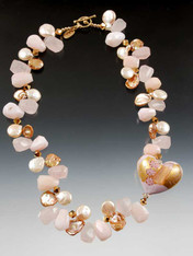 "A fantasic limited edition 24K 1-1/2"" Zanfirico* puffed heart is the focal point of this luxurious collar glowing with pink opal, rose quartz, pink freshwater pearls, rare rose gold petal pearls, 24K plated Swarovski crystals and a 14K cast spiral toggle clasp from years ago (now worth as much as the whole necklace)"