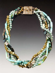 Feel like a mermaid in this medley of  blue/green tones featuring hemimorphite, abalone, peruvian opal, freshwater pearls - each one unique. Clasp varies with design but all very special. 21""