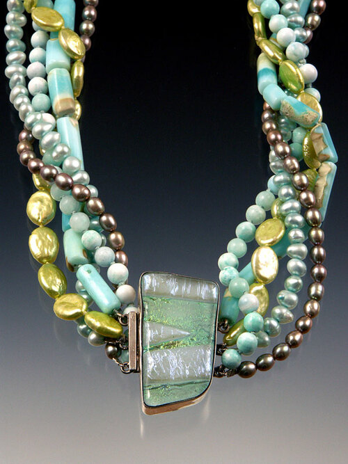 A medley of aqua, lime and pale blue opal, hemimorphite, and pearls centered with a showcase Venetian glass sterling clasp. 20""