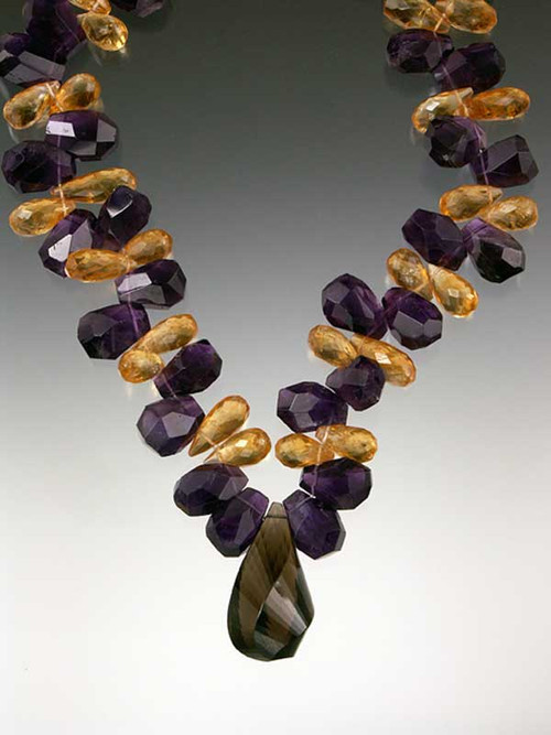 """A magnificent showcase for any special occasion - displayed in a top NY boutique window for 2 months with a Givenchy aubergine evening gown. This dramatic collar features grade AAA large faceted mandarin garnet and deep purple amethyst drops with Brazilian topaz swirl pendant 21"""""""