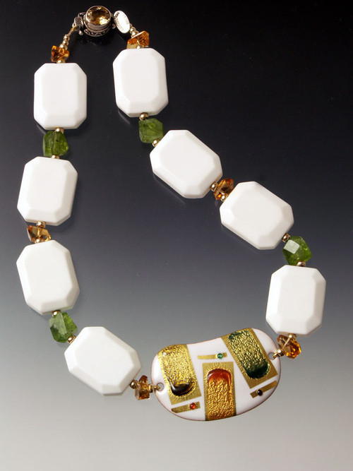 "Kyoto jewelry is yours. A dramatic 24K  2"" cloisonne centerpiece handmade exclusively for this design by a renowned Kyoto atelier framed by white agate slices, grade AA carnelian and peridot cut nuggets, 14K rondels, 18K clasp"