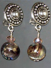 This elegant design features circle pattern Terracast sterling button clips and genuine amethyst periwinkle Venetian glass globes with a tiny Swarovski crystal for sparkle. Super light and elegant 1""
