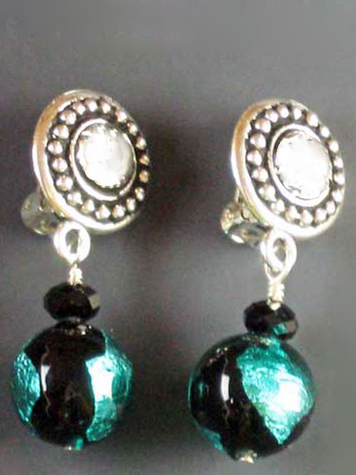 This elegant design features circle pattern Terracast sterling buttons and genuine aqua/green black Venetian glass globes and a tiny Swarovski crystal for sparkle. Super light and elegant 1""
