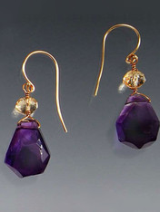 """Great quality and so versatile. Deep purple amethyst drops crowned with faceted citrine rondels gracefully suspended on14K earwires.1"""""""