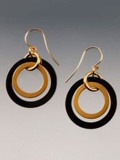 These double hoop earrings in gunmetal and 24K brushed gold overlay with 14K earwires are totally trendy and go with everything.
