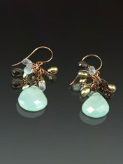 Chalcedony Topaz Pearl and Labradorite Cluster Earrings