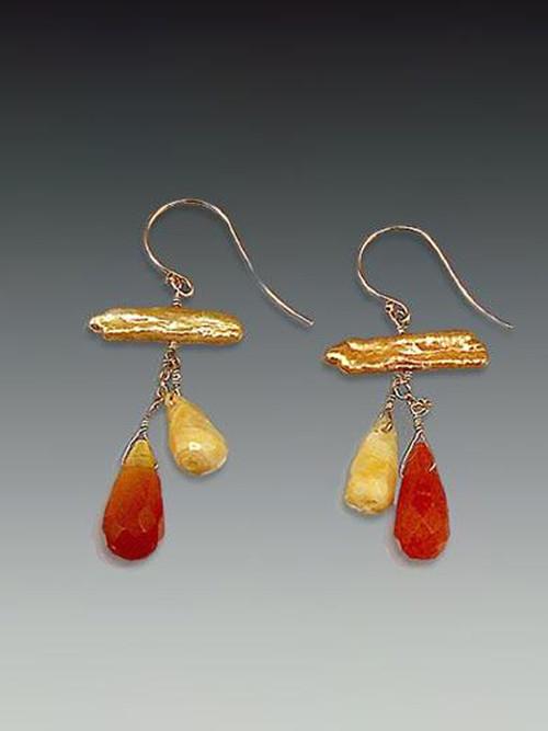 "Peach stick pearls, carnelian and jasper drops,14K earwires1-1/4"""
